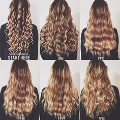 5 Ways to Wand Wave by thebeautydepartment.com/hair; I personally either do 2 or 4. So easy to do at night then sleep on and wake up with the 3 or 5 depending on how tight you curl it.