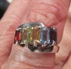 Sterling bagette gemstone ring peridot stone by artsandadornments