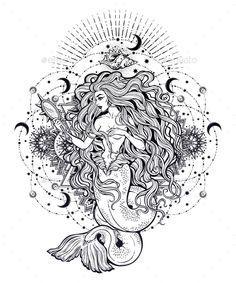 Buy Mermaid Girl With Magic Mirror In Ornate Mandala By Itskatjas On GraphicRiver Beautiful Fairytale Stars And