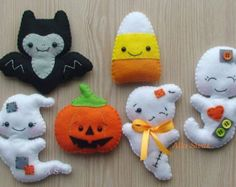 easy halloween felt softie pattern ghosts and pumpkin pdf sewing tutorial for stuffed toy decoration trick or treat party favors halloween felt