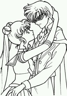 Sailor Moon and Tuxedo Mask. Coloring Page.