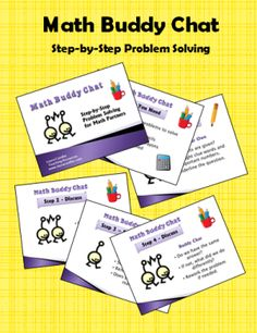 Math Buddy Chat freebie - step by step directions for kids to work in partners to solve word problems