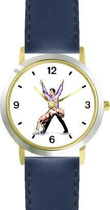 Pairs Figure Skaters No.2 Ice Skating Theme Ice Skating - WATCHBUDDY® DELUXE TWO-TONE THEME WATCH - Arabic Numbers - Blue Leather Strap-Children's Size-Small ( Boy's Size & Girl's Size ) WatchBuddy. $49.95