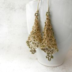 Wire Earrings Wire Crochet Jewelry 14K Goldfill by AlbinaRose, $87.00