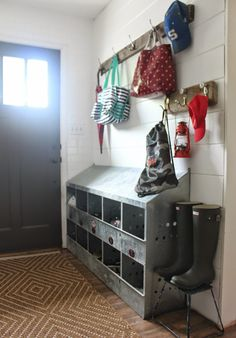 practical small mudroom storage idea