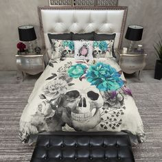 Featherweight Skull Bedding - Teal Flower Watercolor Skull Print on Cream Fabric - Comforter Cover - Skull Duvet Cover, Sugar Skull Bedding