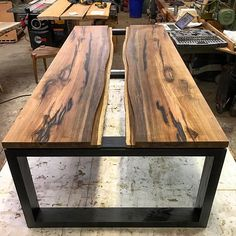 Rosewood coffee table progress shot - Just waiting for the glass! Loving the contrast of the ebonized Ash legs with the Rosewood. Can't wait to make the Rosewood sing with a coat of oil.