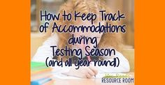Testing season is here! And along with the pressures of the test, and managing the testing schedules, and trying to fit in your instructio. Teacher Organization, Organized Teacher, Iep Meetings, Keep Track, All Year Round, Primary Resources, Resource Room, Special Education Teacher, Back To School
