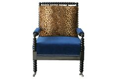 Bobine Spindle Chair, Leopard/Blue Velvet