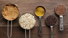 Use cup creamy peanut butter, 1 cup old-fashioned oats (plus extra for rolling), tablespoons honey, cup miniature chocolate chips (plus extra for rolling), and cup flaxseeds (optional). No Bake Energy Bites, Peanut Butter Energy Bites, Peanut Butter Protein, Energy Balls, Pb Balls, Power Balls, Protein Bites, Protein Snacks, Healthy Protein