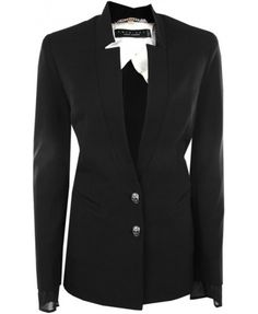 0ee0ee794a76bb Twinset Womens Black Fitted Suit Jacket Black Fitted Suit, Long Jackets,  Outerwear Jackets,