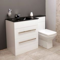 The Vigo left hand combination unit with back to wall toilet pan. This modern styled combination unit comes complete with unique black basin/worktop and 2 deep drawers to cater for any bathrooms storage needs. Complete with chrome finished handles and squ White Vanity Unit, Basin Vanity Unit, Bathroom Vanity Units, Small Bathroom Storage, Bathroom Toilets, Bathroom Flooring, Bathroom Furniture, Toilet Vanity, Back To Wall Toilets