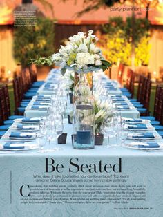 Pretty Blue Table Setting for an outdoor party.
