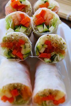 Receta de Rollo de Papel de Arroz relleno con Zanahoria, Zapallito, Lechuga,Tomate y Brotes de Alfalfa con Salsa de Miel | CherryTomate