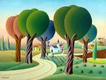 1st global collection of naive art at GINA Art Gallery in Tel Aviv, Israel -  Five Large Trees by Giovanni Galli (Italy)