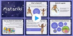 This PowerPoint will introduce the Māori celebration of Matariki to your kids. Learn about its history, why & how it is celebrated by the Māori in New Zealand Parent Resources, School Resources, Teaching Resources, All About Me Poster, Seven Fishes, Star Template, Star Designs, Star Shape, New Zealand