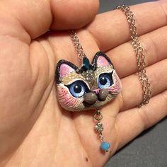 Siamese kitty cat pendant OOAK handmade jewelry piece