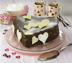 Chocolate Marzipan Heart Cake Recipe Desserts with dark chocolate, butter, eggs, all-purpose flour, apricot jam, marzipan, milk chocolate, powdered sugar
