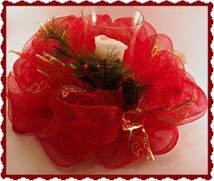 Christmas Table Decorations using Christmas wreath | Christmas Decor, Candle holder, Deco Mesh