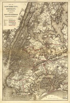 Map of New York City Manhattan, Brooklyn, and surface & elevated railroads in operation proposed / Subway.  Vintage reproduction Map. 1885