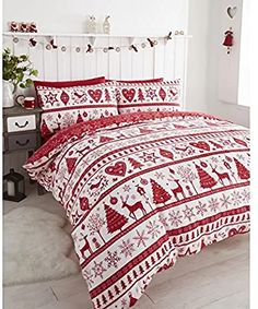 Noel Christmas Tree Snowflake Reversible Duvet Quilt Cover Bedding Set Red - UK King / US Queen *** Find out more by visiting the picture link. (This is an affiliate link). Red Duvet Cover, King Duvet Cover Sets, King Comforter Sets, Duvet Sets, Quilt Cover, Blanket Cover, Pillow Covers, Red Bedding, Quilt Bedding
