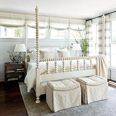 Nashville Idea House Master Bedroom | This bedroom's impressive bed, which is from the Mr. and Mrs. Howard collection by Sherrill Furniture, combines graceful spools, four tall posts (a Southern addition), and a pretty painted finish. | SouthernLiving.com