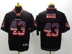 Men's Nike NFL Denver Broncos #43 T.J. Ward Black USA Flag Fashion Elite Jerseys