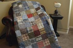 Quilt Chambray Mens Plaid Dress Shirt Quilt RePurpose ReCycle ReUse Soft Colored Shirts TWIN
