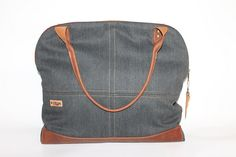 Tote bag Brown Canvas and leather bag unisex laptop bag travel bag