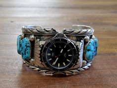 Vintage Navajo Sterling Silver Turquoise Men's Watch Cuff Bracelet By Ray Yazzie