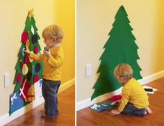 Felt tree. Good idea for the little ones. While you are decorating the tree, they can't break ornaments! Genius!