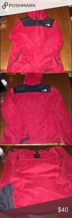 North Face Soft Full Zip Fleece Red Women's soft north face full zip fleece in cayenne red size medium. Lightly worn no holes or anything, a little bit of wear in the armpit section/barely at the bottom of the front but it's hard to notice. The North Face Jackets & Coats
