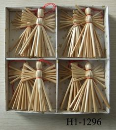 Scandinavian Straw Angels or Heart Ornaments - Box of 8 pieces