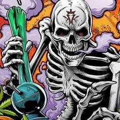Skull and bong Cartoon Kunst, Cartoon Art, Marijuana Art, Cannabis, Medical Marijuana, Dope Kunst, Dragon's Teeth, Skull Pictures, Stoner Art