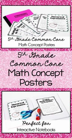 5th Grade Common Core Math Concept Posters: 47 posters specific for 5th Grade Math CCSS. These are perfect printed at 80% for interactive notebooks! Time efficient and helpful notes for the students.