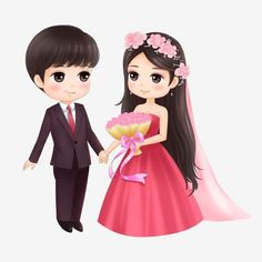 Wedding Couple Cartoon, Love Cartoon Couple, Cute Love Cartoons, Anime Love Couple, Cartoon Love Photo, Bride And Groom Cartoon, Cartoon Cartoon, Cartoon Images, Cute Cartoon Pictures