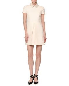 W0CPX Valentino Short-Sleeve Pleated-Front Mini Dress, Ivory