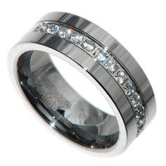 8mm Tungsten Carbide 1 Carat 13 stones Bridal Men Wedding Band Ring Size 7-15
