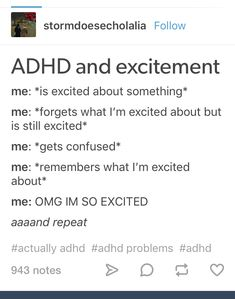My short-term forgetfulness can get annoying sometimes, especially when I'm in the middle of a daydream and I just suddenly spiral into another train of thought and forget the plot of the daydream. Adhd Funny, Adhd Brain, Adhd And Autism, Adult Adhd, Mental Disorders, Mental Health Awareness, In Kindergarten, Tumblr Funny, Writing Tips