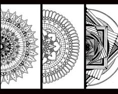 Mandala coloring pages, 5 printable adult colouring pages, coloring book,stress relief, hand drawn, kolorowanka dla dorosłych