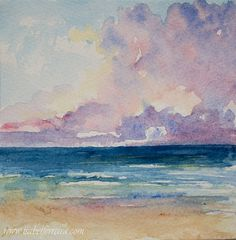 Original watercolor  painting, HORIZON, beach painting, seascape painting, blue,clouds,watercolor seascape