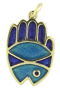 Beautiful Art Deco 14k Gold Pendant. Displaying combination of hand, fish and eye, the three good luck symbols.