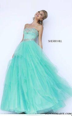 2015 Aqua Sherri Hill 11185 Beaded Ball Gown