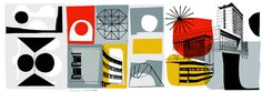 Mid Century Modern Illustration Urban Plan Designs