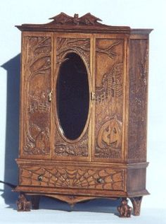 Halloween armoire 1:12idea to mod a dollar store dollhouse piece with decoupage, applique and wood burning