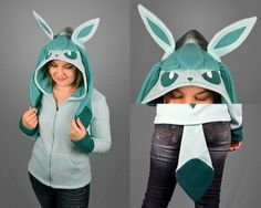 Glaceon Pokemon Fleece Costume Hoodie with Shiny Option Made | Etsy