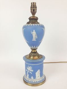 Antique Wedgwood Blue Jasperware Table Lamp- Vintage Brass Classical Working Old