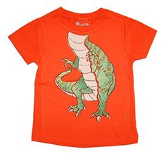 PeekAZoo Toddler Become an Animal Short Sleeve T shirt  Tyrannosaurus Rex Orange 3T >>> Click image to review more details.