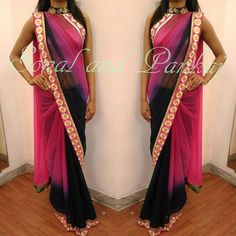 """Another #blockbuster in #collar #style from our collection We really appreciate the you all show to our designs... so let's celebrate this love in #pink n #navyblue  Grace this #Karwachuath with our """"#collar #style"""" #saree  Visit below link for more designs or whatsapp at +919669166763 https://m.facebook.com/Designer-Drapes-By-Sonal-Daga-311477639022995/"""