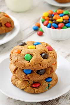 M&M cookies are soft, chewy and loaded with M&Ms! With a gluten-free option.